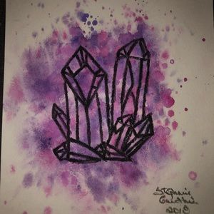 Other - Quartz cluster Watercolours Hand Made